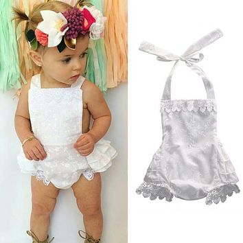 Newborn Baby Girls Clothes Tops Romper Lace Floral Jumpsuit Ruffles Cute White Outfits Sunsuit Clothing Baby Girl
