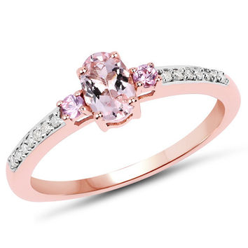 0.60 Carat Genuine Morganite, Pink Sapphire & White Diamond 10K Rose Gold Ring