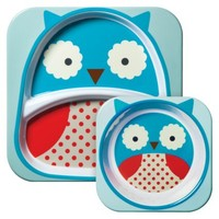 Skip Hop Zoo Melamine Kids & Toddler Tableware Set Owl