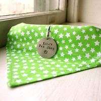 Handmade Dog Bandana with Space for Tags - Green and White Stars Velcro Over the Collar Dog Bandanna w ID Tag Slot Pet Accessories Dog Scarf