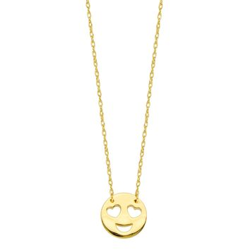 """14K Yellow Gold Love Smiley Face Pendant Necklace, 16"""" To 18"""" Adjustable"""