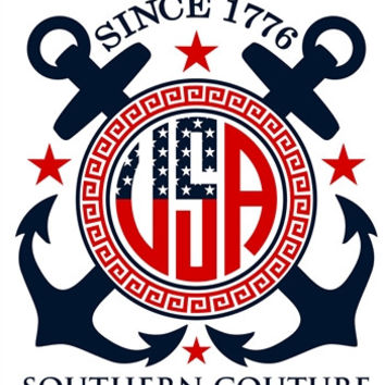 Southern Couture USA Flag Patriotic Logo Anchor Comfort Colors White Girlie  Bright T Shirt