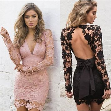 Summer Women Fashion  Hollow Lace Dress V-necks Sexy Casual Patry Dresses Sweet Tops 2 Colors Size S- XL