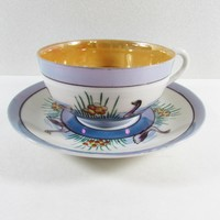 Geese Blue Lusterware Tea Cup and Saucer