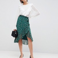 Y.A.S Floral Wrap Skirt With Ruffle at asos.com