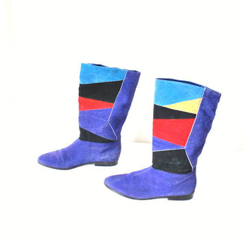 size 7 patchwork leather boots / geometric color blocking 80s UNIQUE mod PIXIE boots