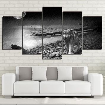 Wolf Print Back and White river poster wall art print on canvas framed unframed