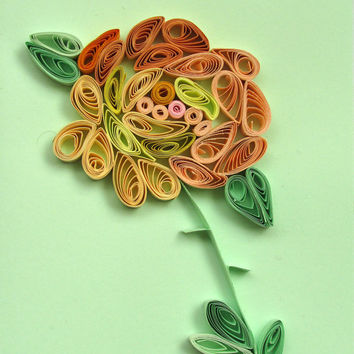 Pastel Green Rose Quilling Card, Handmade Greeting Card