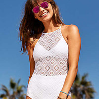 Aerie Crochet One-Piece Swimsuit , White