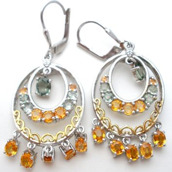 Sterling Silver Gemstone Chandelier Earrings STS