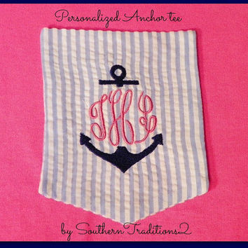 Monogrammed Personalized Seer Sucker Anchor Pocket Tee Choose your color t shirt Short Sleeved