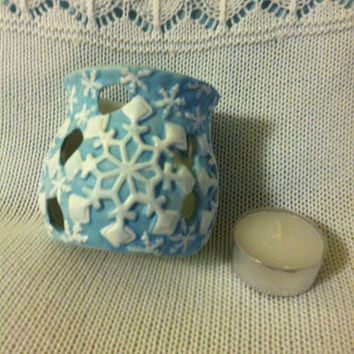 Snowflake Candle Holder Vintage Blue Ceramic Votive Tealight Candle Bowl With White Hand Painted Snowflakes and Cutout Designs Winter Theme