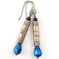 Long Sterling Silver and Blue Teardrop Earrings
