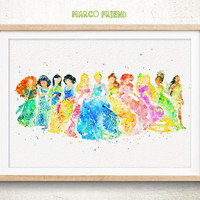 Disney Princess Collection - Watercolor, Art Print, Home Decor, Wall Art, Watercolor Print, Gifts, Nursery Decor, Disney Poster
