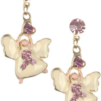Pink Breast Cancer Awareness Angel Earring