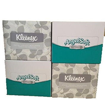 Kleenex & Angel Soft Professional Series Compact Tissue Boxes-4 Total Boxes of 2 ply Tissues