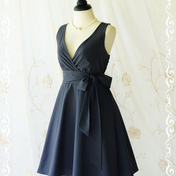 My Lady II Spring Summer Sundress Vintage Design Charcoal Gray Party Dress Gray Bridesmaid Dress Garden Party Sundress Gray Dresses XS-XL