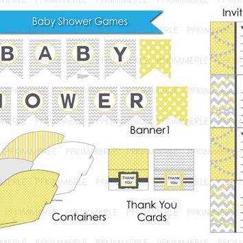 Gender Neutral Baby Shower Grey Chevron Yellow Polka Printable Party Pack New Baby