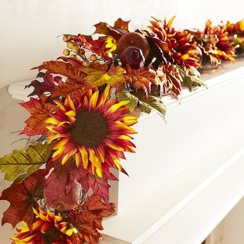 Faux Sunflower Garden LED Pre-Lit 6' Garland