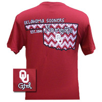 New Oklahoma Boomer Sooners OU Chevron State EST. 1890 Girlie Bright T Shirt