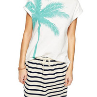 Palm Tree Print White Tee