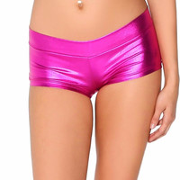 Womens Low Waisted Sexy Lycra Metallic Rave Booty Dance Shorts Spandex Shiny Pole Dance Shorts Gold Silver Shorts For Stage