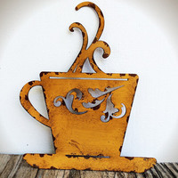 Laser Cut Metal Teacup Kitchen Wall Art - Goldenrod Yellow - Shabby Chic Rustic French Country Decor
