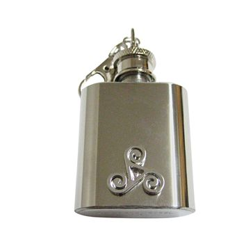 Rounded Celtic Design 1 Oz. Stainless Steel Key Chain Flask