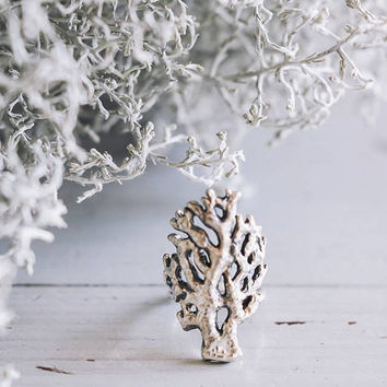 Coral branch ring - sterling silver ring - statement ring - beach jewelry - ocean creatures - summer jewelry - gift for her - nature jewelry