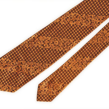 Gold and brown vintage acetate necktie, like new, ready to wear, 1940s, first job, power tie,