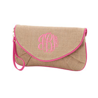 Personalized Clutch with Hot Pink Trim.  Initial, Monogram or Plain.