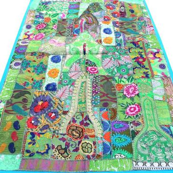 Bohemian Hand Embroidered Patchwork Wall Hanging Table Cover Antique Handmade Wall Decor Art Hanging Patchwork Throw 150 Cm X 100 Cm