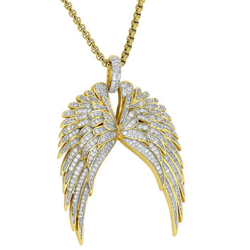 Guardian Angel Wings Pendant Cherub Guidance 18K Gold Plate
