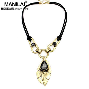 MANILAI Bohemian Choker Rhinestone Crystal Inlay Leaf Statement Pendants Necklaces For Women Charm Jewelry Vintage Accessories