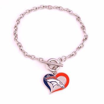 New Styles single-sided enimal Denver Broncos  Football team Logo Swirl Heart charm Wedding Toggle charm OT Bracelet