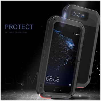 LOVE MEI Cover for Huawei P10 Shell Powerful Mobile Casing for Huawei P 10 Mobile Phone Bag (Metal + Silicone + Tempered Glass)