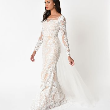 Ivory & Beige Illusion Lace Sleeved Long Gown