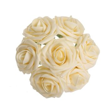 Cream Artificial Flowers 50pcs Real Looking Roses with Stems for Wedding Bouquets Centerpieces Party Baby Shower Decorations DIY