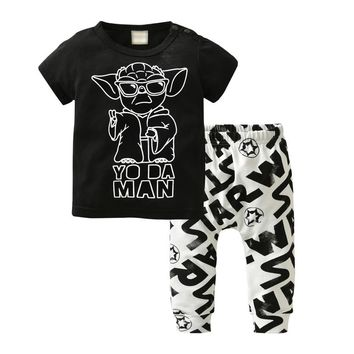 Star Wars Force Episode 1 2 3 4 5 2018 Newborn Baby Boys Summer Clothes Set Cartoon  Outfit Short Sleeve T-Shirt Tops+Legging Pants Infant Clothing Suit AT_72_6