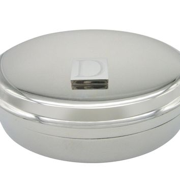 Letter D Etched Monogram Pendant Oval Trinket Jewelry Box