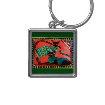 Legend of the Siamese - Whimsical Cat Art Keychain