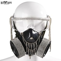 Rhinestone Shield Glasses And Steampunk Gas Mask