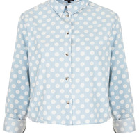 MOTO Spot Crop Denim Shirt - Tops - Clothing - Topshop USA