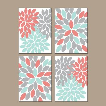 Flower Wall Art, Coral Aqua Gray Nursery Decor Canvas or Prints Flower Bedroom Wall Decor, Coral Aqua Bathroom Decor, Set of 4 Wall Art