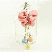 New Mobile Accessories Pink Bow Three Crystal Beads Cell Charms Dust Plug Ear Jack For Iphone 4 4S / Samsung / iPad / iPod Touch / Other 3.5mm Ear Jack:Amazon:Cell Phones & Accessories