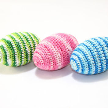 Crocheted Easter Eggs (set of 3) colorful / Easter  Decoration / green pink blue / Natural toy for baby