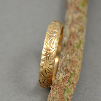 Gold Ring - Patterned 14K gf Ring Band - Wedding Band Anniversary Band Stacking Band - Made in your size
