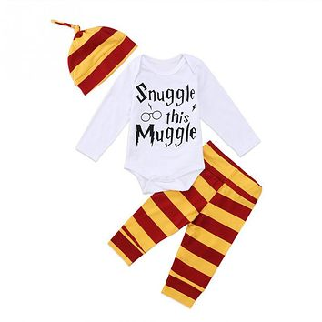 2018 NEW HOT SALES Newborn Baby Boys Girl Harry Potter Clothes Romper Pants Hat Outfit Set