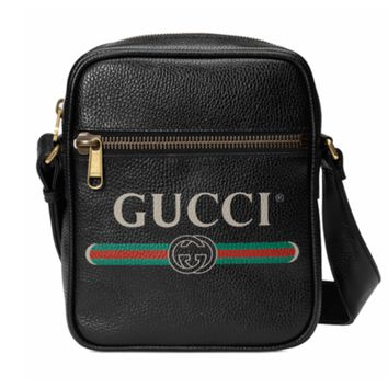 GUCCI Tide brand leather retro logo men and women shoulder shoulder Messenger bag Black