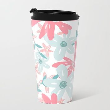 coral and mint flowers Travel Mug by sylviacookphotography